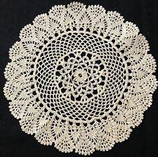 "Old Vintage White Elaborate Cute Crochet Lace Doily 7"" Dia. Vintage Table Decor"