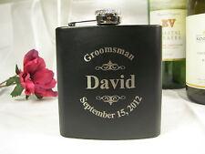 2 Personalized Engraved Flasks Groomsman Groomsmen Best Man Gifts Logo style