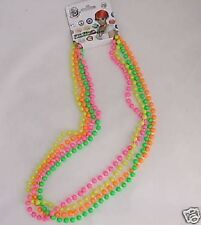 Ladies 80s 1980s Neck Beads Pack of 4 Neon Necklace Fancy Dress New by Smiffys