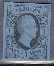 Saxony, Sc#5, VF NG, 1 Ngr Blk Proof on Blue tinted card, Signed, Mi#4P2, *RARE*