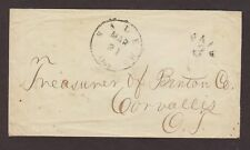 Oregon: Salem 1850s Stampless Cover, Black CDS & UNLISTED PAID 3 in Arc