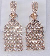 ELEGANTE Orecchini a clip Oro strass cristalli,cerimonia Moda donna,idea regalo