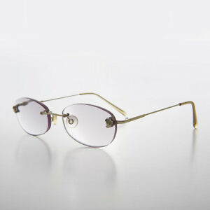 Gray Tinted Lens Reading Glasses Oval Rimless Frame 1.75 diopter  - Lonnie