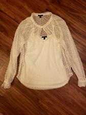 Ella Moss Anthropology Cream Color, Long Sleeve Lace Blouse, size M