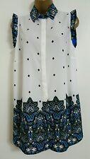 NEW Size 16-24 Paisley Border Print Chiffon Blue White Tunic Top Blouse