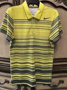 Nike Dri-Fit Men's Polo Tennis Collared Shirt XS Yellow Gray Polyester & Stretch