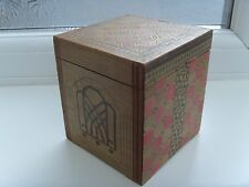 Antique Yosegi Japanese Marquetry cigarette dispenser