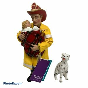 "Possible Dreams Clothtique ""Save the day"" Firefighter,Baby & Resin Dalmatian NIB"