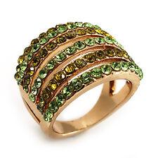 GOLD Tone Anello di banda larga di cristallo (Green & Olive)