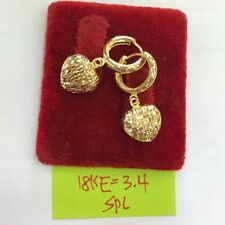 Authentic Gold18k saudi gold loop heart earrings,pawnable gold earrings