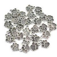 10PCs Gift Charm Pendants Enamel Red Dog/'s Paw Silver Tone 18mmx16mm R4A9