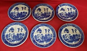 6 Blue Willow Child's Tea Set Grill Dinner Plates Made in Japan