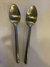 New listing Hampton Silversmiths PYRAMID Satin Set of 2 Place/Soup Spoons Stainless Flatware