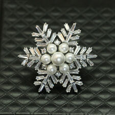 Snowflake Rhinestone CZ Pearl Flower Women Wedding Party Accessories Brooch Pin