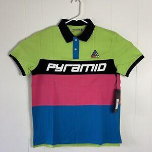 Black Pyramid Men's Athletics Multi Color Polo Shirt Size Large Green Pink Blue