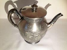 Victorian Barbour Bros Co Quadruple Silver Plate Pattern 999 Tea Pot 1881-1890