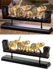"13.5"" BEJEWELED ELEPHANT FAMILY CARVED SCULPTURE DECOR ** NIB"