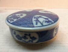 """Vintage 3.5"""" Trinket Box Takahashi Japan Porcelain Blue Ware Dresser"""
