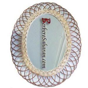 Handmade Algerian Wicker mirror - Oval Medium