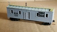 NS11 N Scale Box Car Micro Train Couplers MOW 106 Work Car MOW weathered fty7