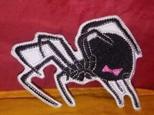 Redback/ Black Widow Spider Pink Bow Embroidered Patch Iron-on Good Luck Magic