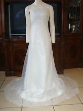 Vera Wang Ivory Strapless Wedding Gown White Sequin Tulle Overlay Fitted A-Line