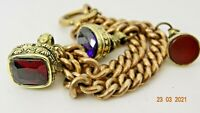 GORGEOUS ANTIQUE ROLLED GOLD BRACELET WITH FOB CHARMS