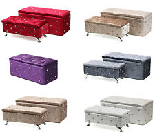 Crushed Velvet Chesterfield Diamante Storage Ottoman Seat Box Foot Stool Crush
