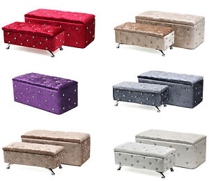 Crushed Velvet Chesterfield Diamante Storage Ottoman Seat Box Foot Stool Crush