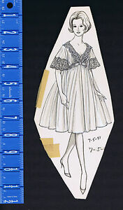 Peignoir, Negligee, Women's 1970s Lingerie Advertising Pen & Ink Drawing