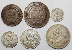 1922 Australian Pre-Decimal Coin Set in Holder 92.5% Silver Florin Shilling  6d