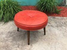 Vintage MCM Atomic Orange Naugahyde Vinyl Round Footstool Ottoman Hassock