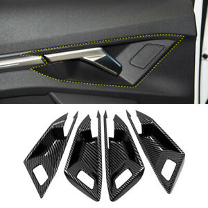 Carbon Fiber Interior Car Door Handle Bowls Cover Trim for Audi A3 8Y 2020 2021