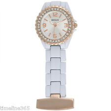 Henley Glamour White/ Rose Gold  Enamel Beauticians Fob Watch HF01.14