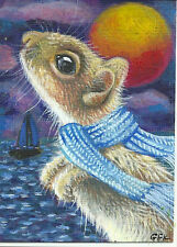 ACEO Original Art Painting Mouse The Dreamer Moon Night Sea Sailboat Whimsical