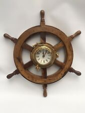 18 Inch Nautical Wooden Ship Wheel with solid Brass porthole clock Marine Decor