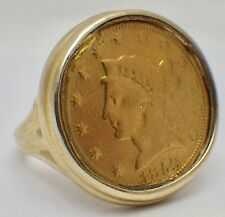 Vintage 1853 $2.50 Liberty Head Gold Coin Ring in 14K Setting Size 7 1/2
