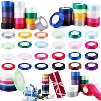 25 Yards Satin Wedding Party Decoration Craft Sewing Many 15 Colors DIY Ribbon