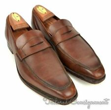 GEORGE CLEVERLEY Brown Grain Leather Penny Loafer Dress Shoes - UK 6 E / US 7