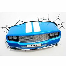BLUE CLASSIC CAR 3D LED WALL LIGHT BEDROOM KIDS NEW RETRO FREE DELIVERY
