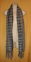 Feather weight women's black blue fringed cotton blend neck scarf wrap O/S $55
