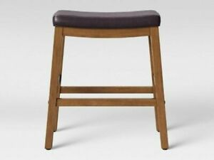 "Threshold Wooden leather Natural Bar Stool, Brown,  21.25W x 14.625D x 29""H"