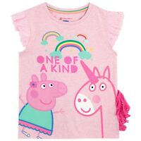 Peppa Pig T-Shirt l Girls Peppa Pig & Unicorn Tee l Kids Peppa Pig Top