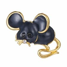 Lovely Brooch Pins Crystal Lovely Gold Tone Enamel Mouse Cute Jewelry Handmade