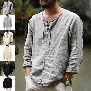 Linen Shirts Men's Outdoor Casual V Neck Long Sleeve Hippie Yoga Beach Top Skin