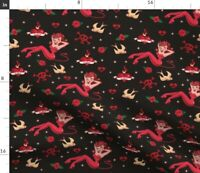 Vintage Tattoo Retro Art Devils Pinup Girl Fabric Printed by Spoonflower BTY