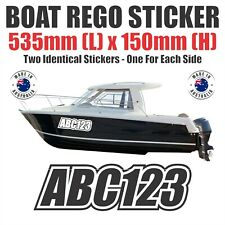 2 x Identical Boat Rego Stickers Decals 150mm (H) Registration Letters Numbers