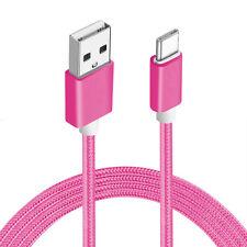 1 x USB Typ C Kabel Ladekabel Datenkabel USB-C Nylon Basic Samsung S8 Sony Pink