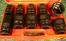 """10pc 1"""" Dr. Standard SAE AIR IMPACT SOCKET SET with CASE and BUDD CR-MO wrench n"""