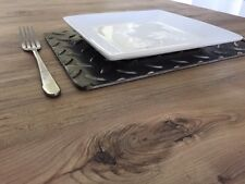 4 PLACE MATS INDUSTRIAL INTERIOR DESIGN PLACEMAT METAL SILVERBACK STEELS